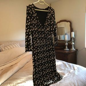Ann Taylor black & white faux wrap print dress